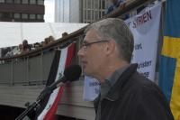 Johan Wiman talar mot Syrienkriget.